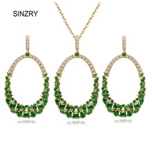 SINZRY joyería de Lujo AAA Cubic Zirconia Jewelry Sets elegante gran círculo verde brillante colgante necklaes pendiente conjuntos