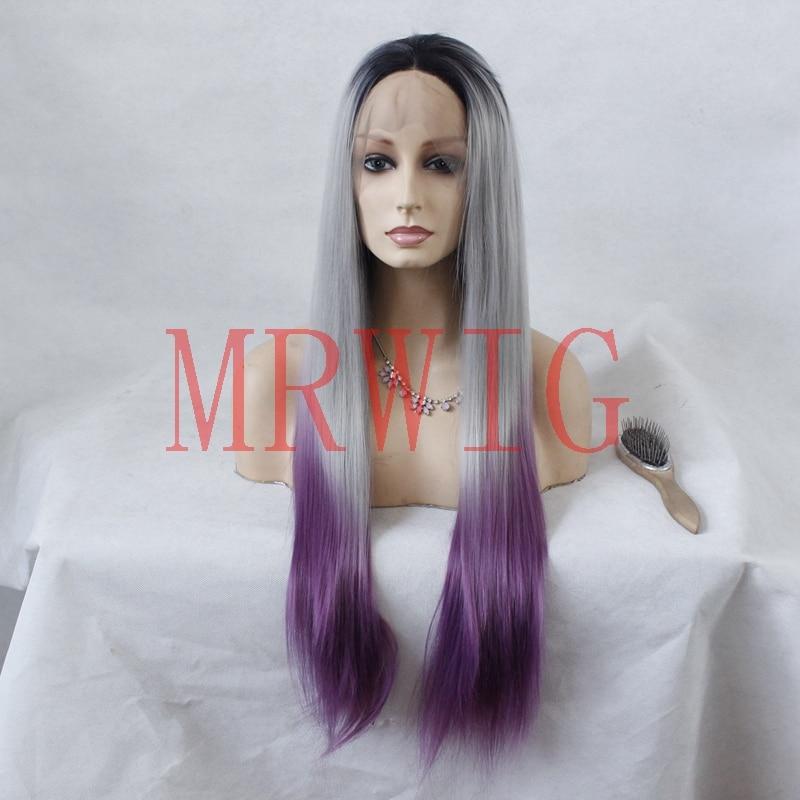 MRWIG lång rak grå ombre peruk spets framkant peruk limlös ombre - Syntetiskt hår
