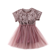 Cute Girl Dress Summer New Kids Clothes Solid Color Princess Dress Casual Children's Clothes girl princess dress 2017 summer new fashion lace cute dress for children sleeveless solid pomp net yarn kids clothes b0214