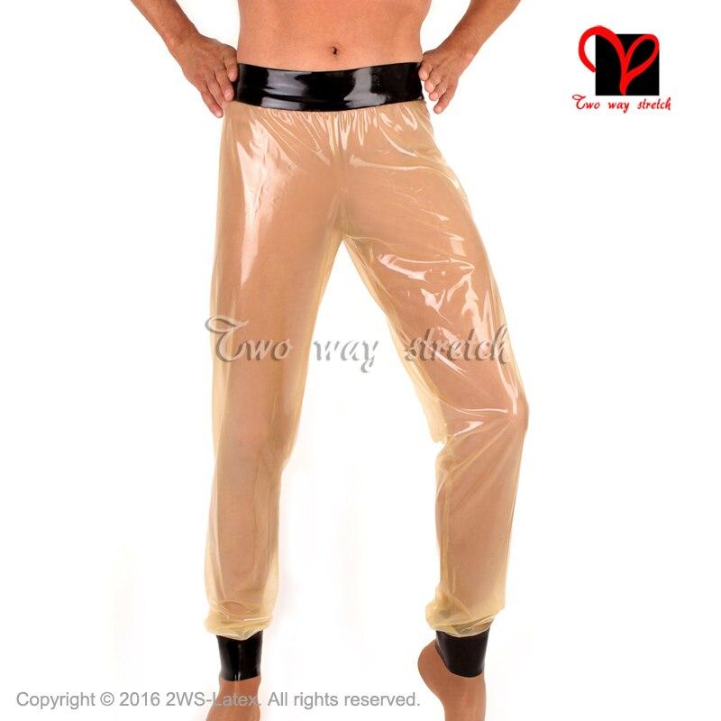 Transparent naturel avec noir lâche Sexy Long Latex Leggings en caoutchouc pantalons pantalons pantalons pantalons KZ 160