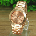 Genebra Relógio de Ouro Das Senhoras Da Menina Das Mulheres Marca de Luxo de Aço Inoxidável Relógio Relógio de Quartzo Relógio de Pulso Reloj Relojes Mujer Vestido Barato