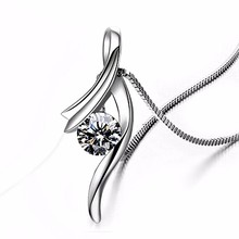 925 Sterling Silver CZ Crystal Necklace Austrian Crystal Pendant Chain Women Jewelry New Design Women's/Girl's lelady crystal necklace original design women pendant