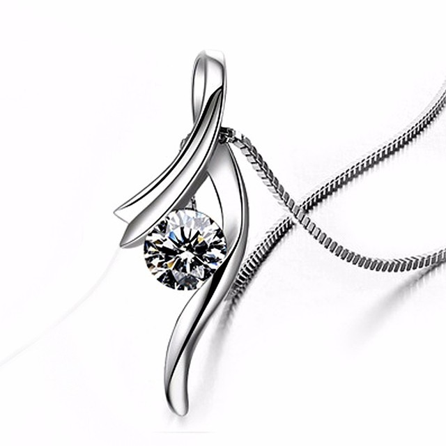 925 Sterling Silver CZ Crystal Pendant Chain Necklace
