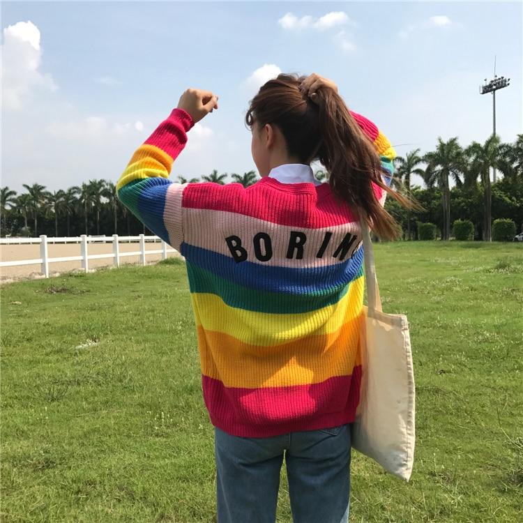 Kawaii Punto De Ulzzang Suéter Cardigan Las Bordado Mujeres 1 Suéteres Harajuku Striped Runway Rainbow Letras Para qfEUnBTwW