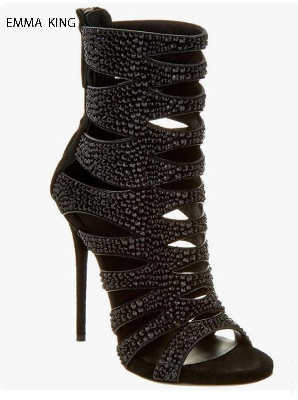 Mode Black Forage Pour Mince Été Chaud Dames Femmes Haute Cheville De Bout Sandales Botines Chaussures Talons Ouvert À Mujer Bottes TxqwHS8x