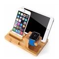 Настоящее бамбук дерево настольная подставка для iPad планшет кронштейн док держатель зарядное устройство для iPhone зарядки док-станция для Apple , часы