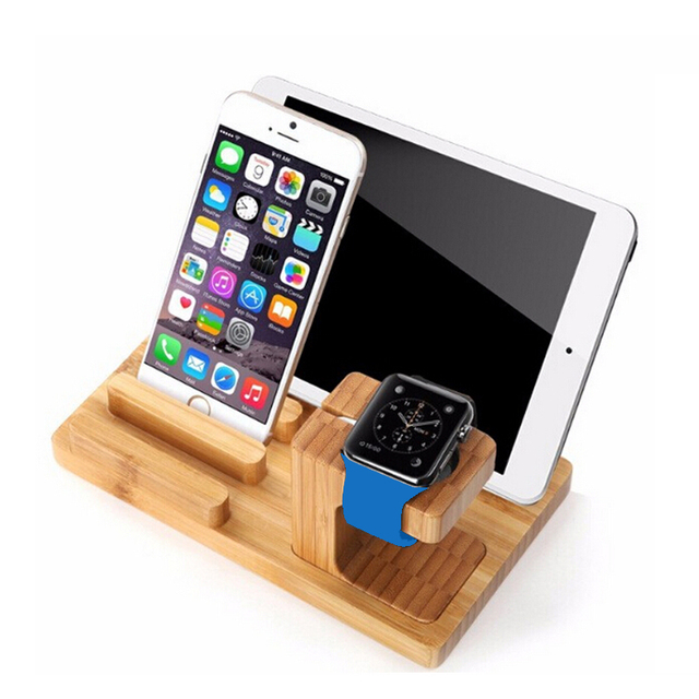 Ladestation Iphone Real Bamboe Hout Desktop Stand Voor Ipad Tablet Beugel