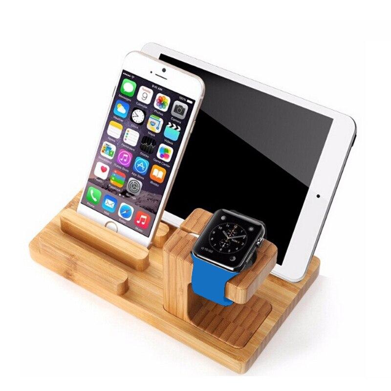 imágenes para Real de madera de bambú soporte de escritorio para el iPad soporte de la tableta Docking station cargador de soporte para el iPhone de carga del muelle para Apple reloj