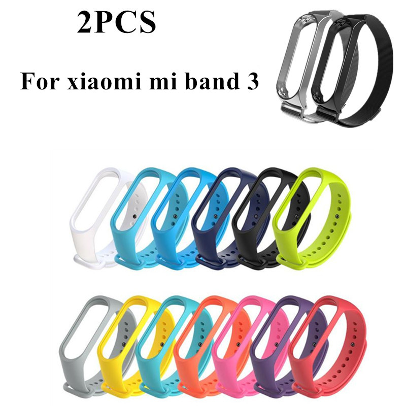 MI band 3 Strap Magnetism Metal Bracelet Steel mijobs Silica gel Bracelet Wristbands Replace Accessories for xiaomi mi band3