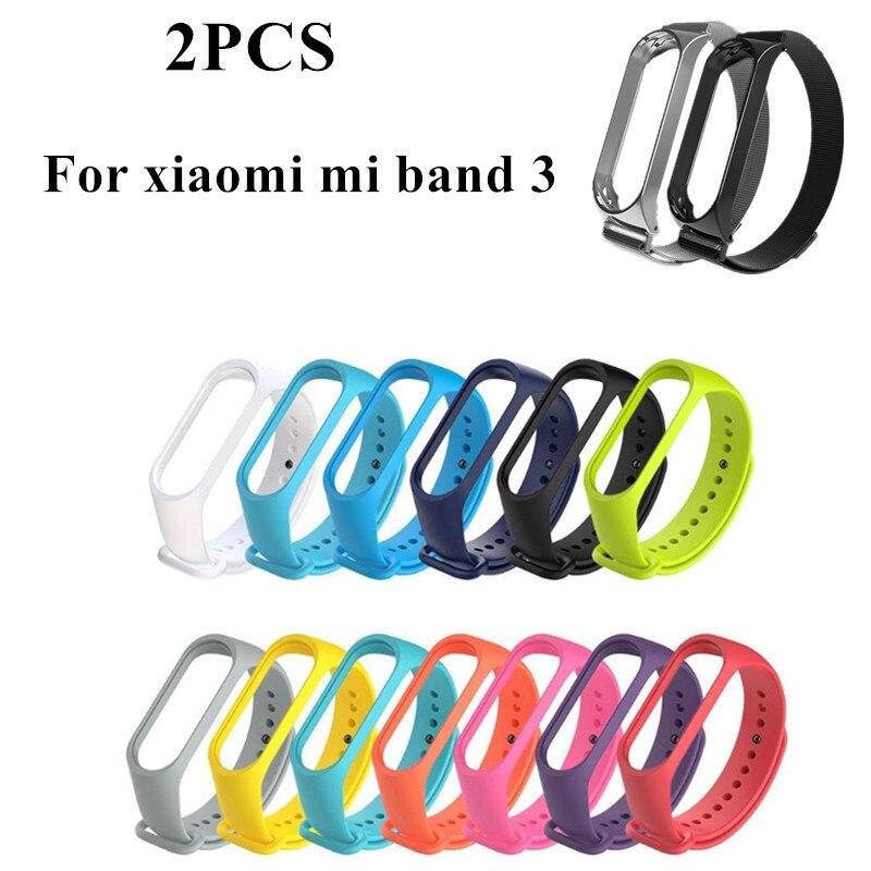 MI band 3 Strap Magnetism Metal Bracelet Steel mijobs Silica gel Bracelet Wristbands Replace Accessories for xiaomi mi band3