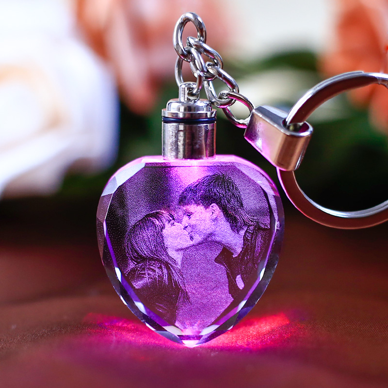 K9 Crystal Keychain LED Flashing Custom Carve Family Photo Frame Souvenir Gifts Glass  Key Chain Ring Jewelry Sleutelhanger