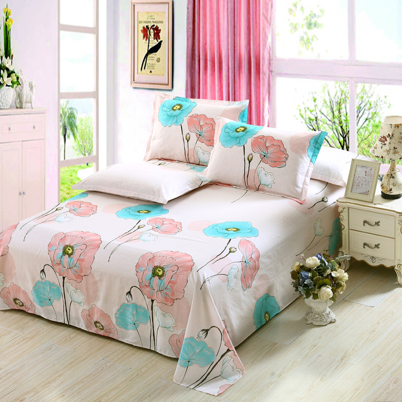 100 cotton twill bed sheet twin full queen king size bedclothes printing single double bedding. Black Bedroom Furniture Sets. Home Design Ideas