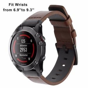 Image 2 - Quick Fit Genuino Cinturino In Pelle 20/22/26mm per Garmin Fenix 5X/5X Plus/5 s/5/3/3HR/Forerunner 935 Watch Band Cinturino Bracciale