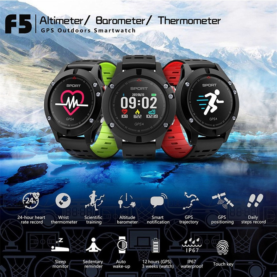 DT NO.1 F5 GPS Smart Watch Heart Rate Monitor Pedometer Sport Bluetooth SmartWatch Smart Wristband For Android IOS Phone New no 1 g6 eu us bluetooth 4 0 heart rate monitor smart watch black