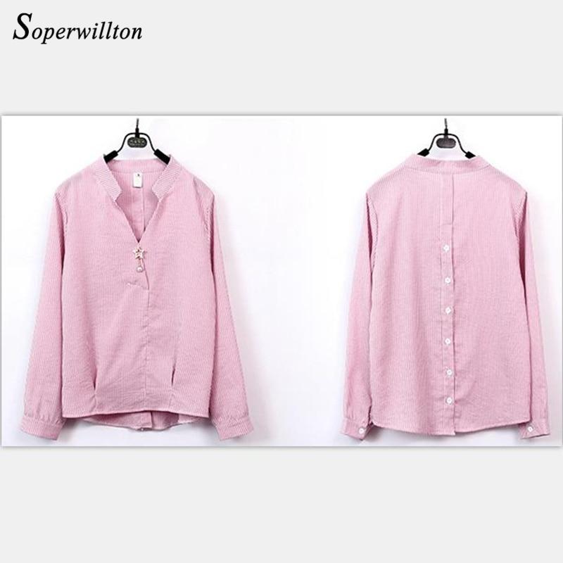 2018 Blue De Camisa V Abertura Oficina Larga Blouse pink Manga yellow Blouse Rayas Botón B36 A Mujer Camisas Blusas Cuello Sky En La Rosa Moda Tops Amarillo BBqr6d