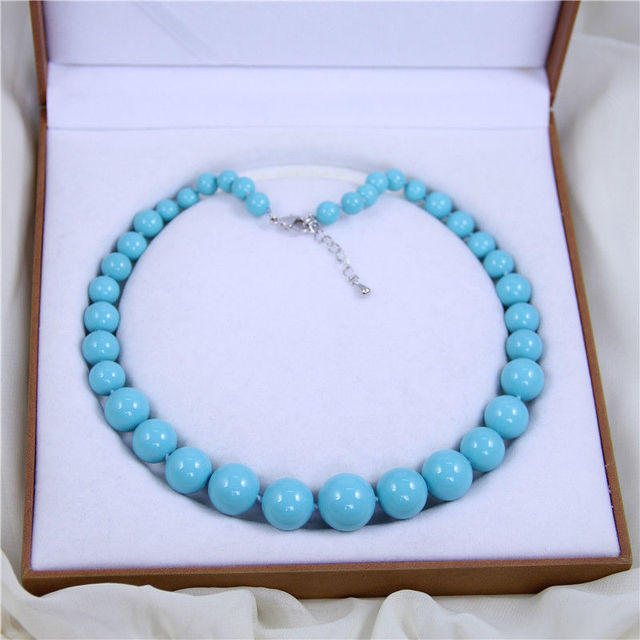 AAA+ 8-16mm Turquoise blue shell pearl luxury & fashion necklace 18'' AAA style Fine Noble real Natural free shipping
