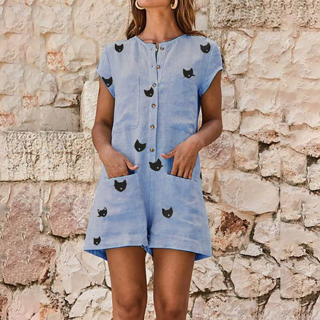Cute Cat Printed Pockets Cotton Linen button blue Rompers Women Shift Daily Short Sleeve Playsuit 2019 Holiday regular   Jumpsuits