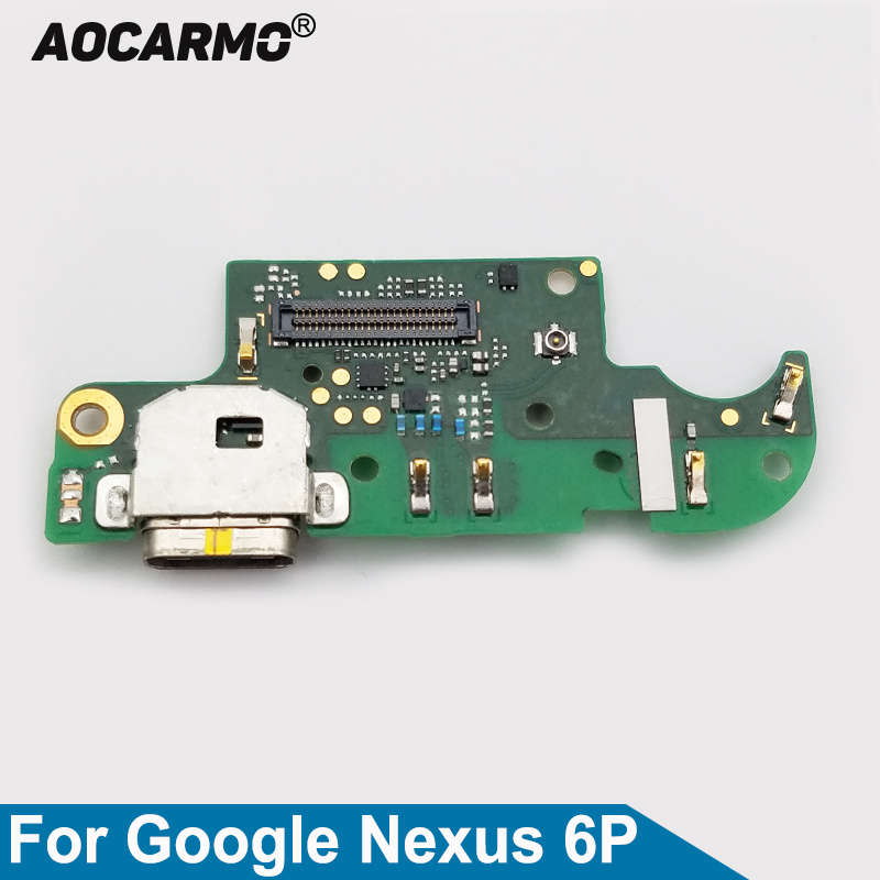 Aocarmo USB Type-C Charging Port Charger Dock Connector Mic Microphone Flex Cable Circuit Board For Huawei For Google Nexus 6P