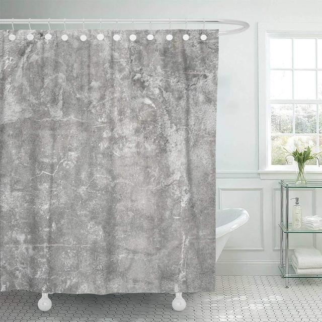 Fabric Shower Curtain With Hooks Brown Abstract Grey Wall Concrete Gray Ancient Architecture Blank Cement Clean