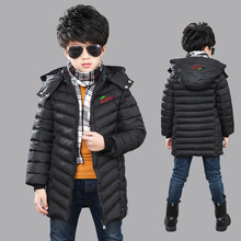 Handsome cute boy winter down jacket fashion letters decorated cotton padded warm children clothes