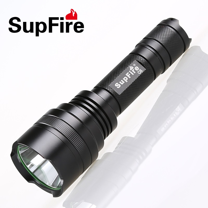 Supfire C8 Cree T6 1100 Lumen Rechargeable LED Flashlight Light 10w Waterproof Flashlight Led Torch by 18650 Battery