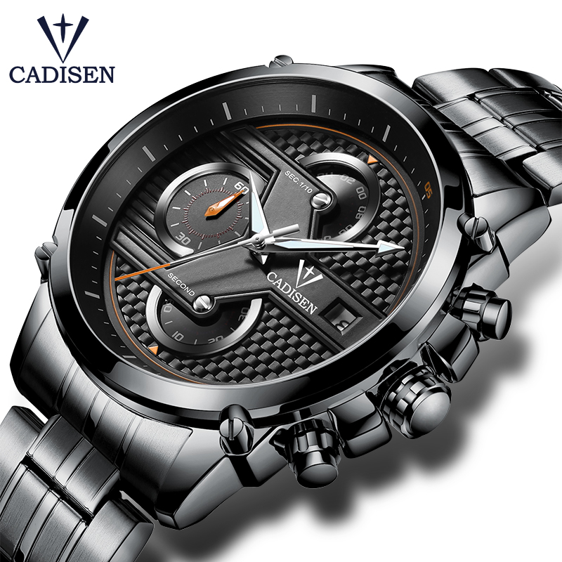 Cadisen Hot Watch Mannen Topmerk Luxe Sport Mode Casual Quartz Herenhorloges Roestvrij Staal Waterproof Mans Timer Polshorloge