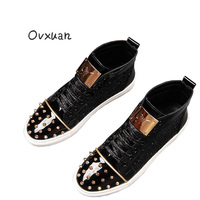 Ovxuan Fashion Rivets Men Handmade Loafers Men Ankle Shoes with Metal Sheet & Gold Buckle Men Dress Shoes Rivets Toe Mens Flats