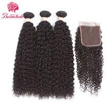 Beau hair Products Mongolian Hair Weave Bundles With Closure Kinky Curly 100% Human Hair Non Remy Hair 5 Bundles Deal Free Ship