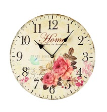 35CM Flower Wood Mute Wall Clock Pastoral Style Rimless Large Digital wall Clocks Living Room Home