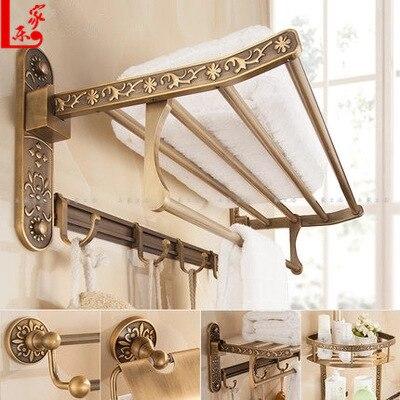 Retro Brushed Carved Aluminum Bathroom Fixture Bath Hardware Set Holder Bath Towel Back Towel Ring Bathroom Sets YD 773
