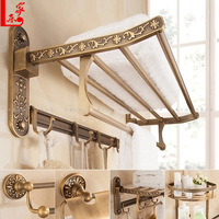 Retro Brushed Carved Aluminum Bathroom Fixture Bath Hardware Set Holder Bath Towel Back Towel Ring Bathroom Sets YD 773