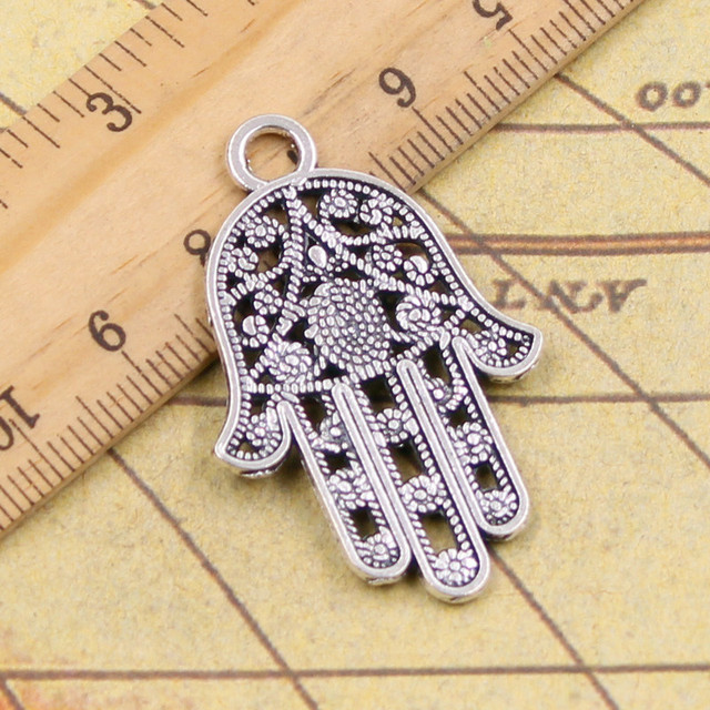 10pcs charms hamsa palm hand protection 4228mm tibetan silver 10pcs charms hamsa palm hand protection 4228mm tibetan silver plated pendants antique jewelry making mozeypictures Gallery