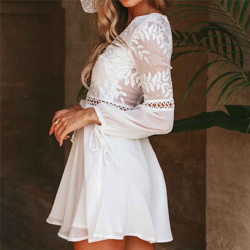 d937a0019e New Fashion Women Casual Sexy V Neck Long Sleeve Lace Trim Short Mini Dress  white dress vestido -in Dresses from Women's Clothing on Aliexpress.com ...