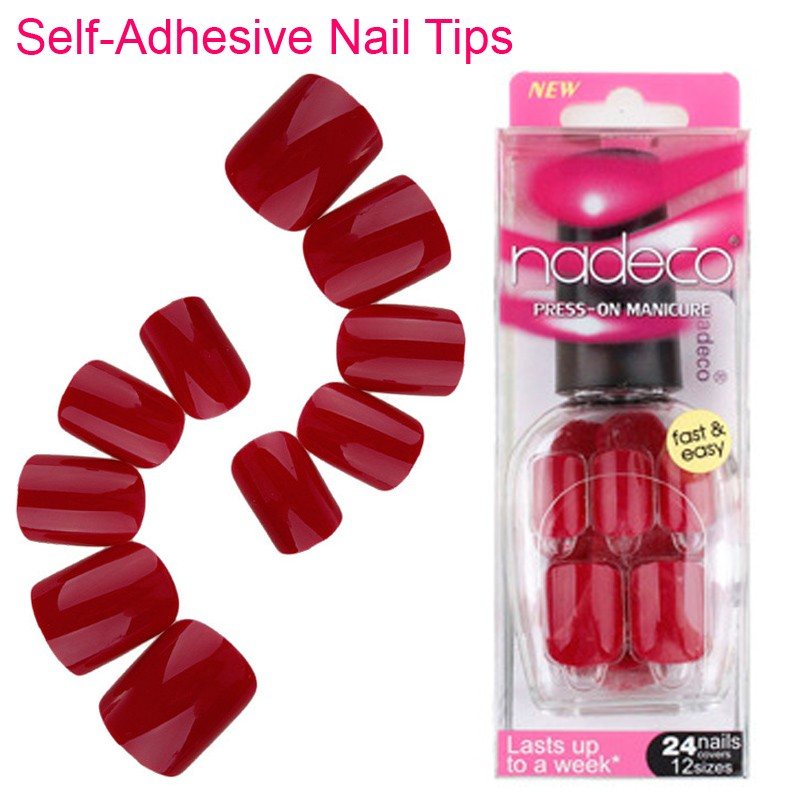 Deep Wine Nail Polish: 15Sets Full Cover Wine Color Self Adhesive Fake Nail