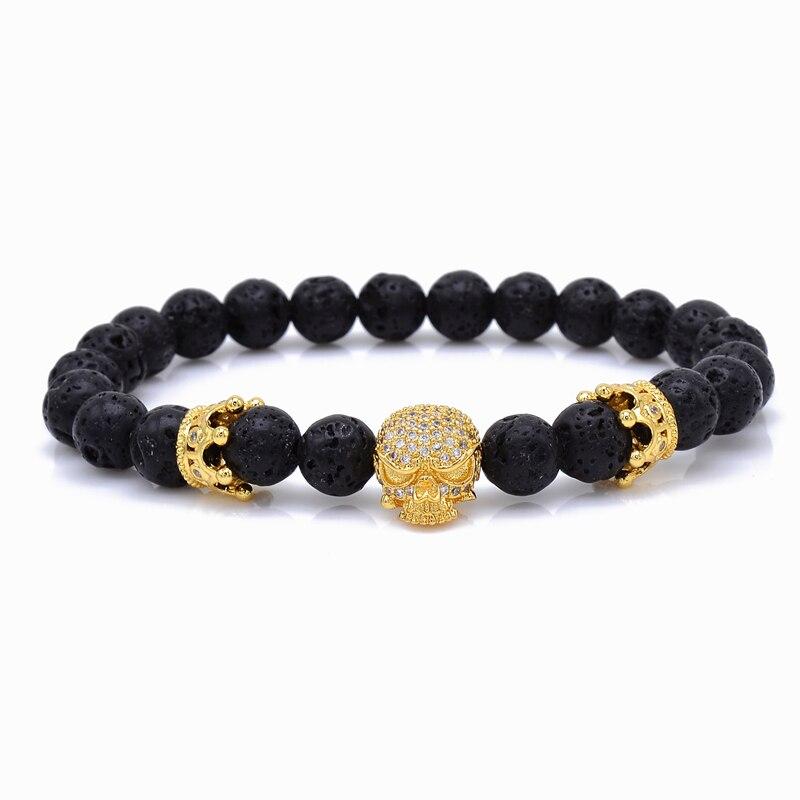 3fd037a6cacd6 Brand Trendy Natural Beads Strand Bracelet Micro Pave CZ Skeleton Skull  Black Lava Rock Stone Energy Men European Buddha Jewelry