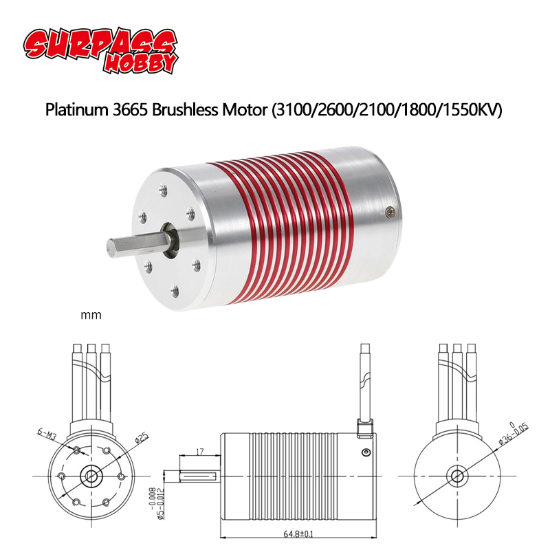 Platinum Waterproof 3665 3100KV 2600KV Brushless Motor Engine for Traxxas HSP Redcat 1/10 RC Car Truck Model-in Parts & Accessories from Toys & Hobbies