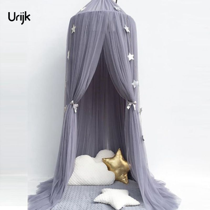 Urijk 1PC Circular Grey Canopy Bed Valance Kids Room Decoration Bed Tent Moustiquaire Princess Kids Girls Round Mosquito Net ...