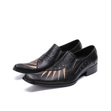 все цены на zapatos hombre black spiked loafers striped mens pointed toe dress shoes italian leather sapato social brand shoes men lasts