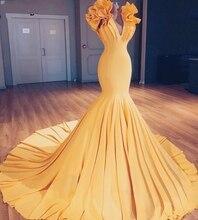 2019 Saudi Arabic Gold Mermaid Evening Gowns Special Long Prom Party Ruffles Flowers Abiye Elastic Maxi Dresses