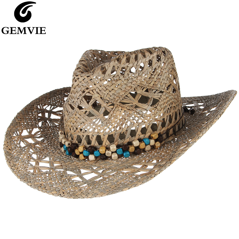 GEMVIE New Straw Western Cowboy Hat For Women Cowgirl Summer Hats For Lady Sun Hat With Leather Beaded Belt Beach Cap Panama