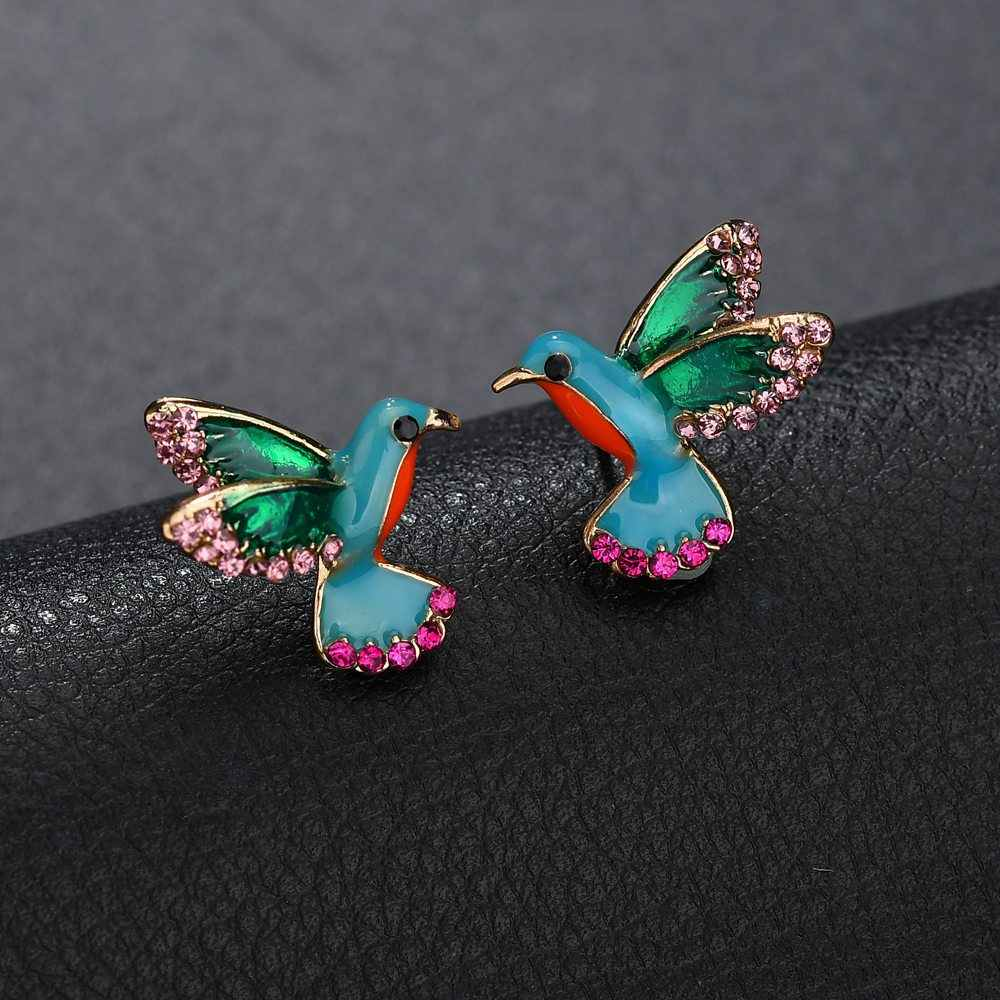 Punk Enamel Bird Stud Earring with Pink Clear Crystal Women Animal Studs Earring Statement Anti Allergy Earring berloque