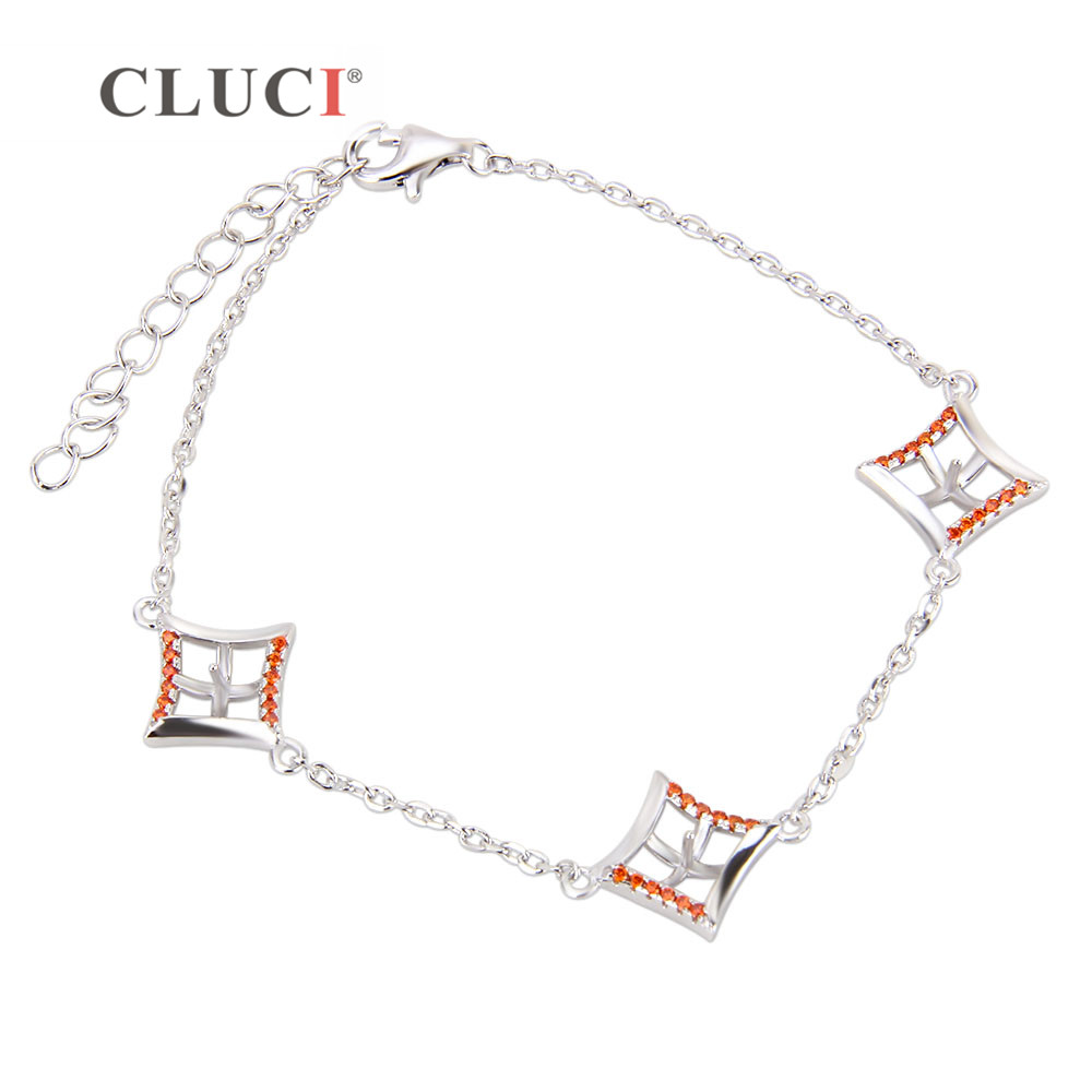 CLUCI 925 sterling silver rhombus Charm Bracelet accessary to match pearls Women Pulseras Jewelry Gift Love Wedding Banquet