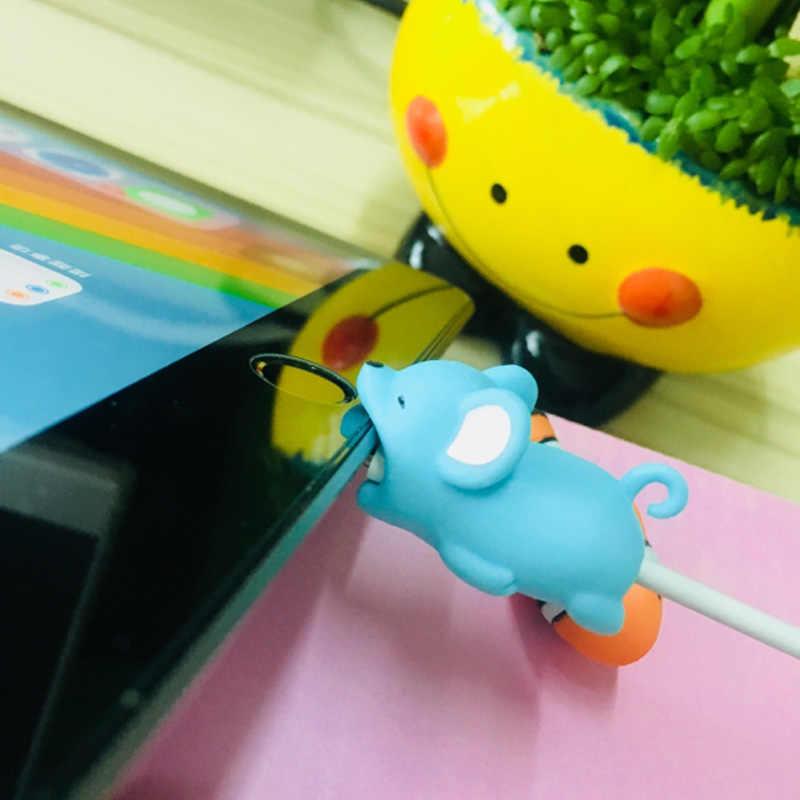 Mordida de Animais dos desenhos animados Cabo de Dados Protetor coelho Tigre Gatos Bonito Tubarão Tartaruga para Iphone Acessório Do Telefone de Protecção Da Linha de Dados