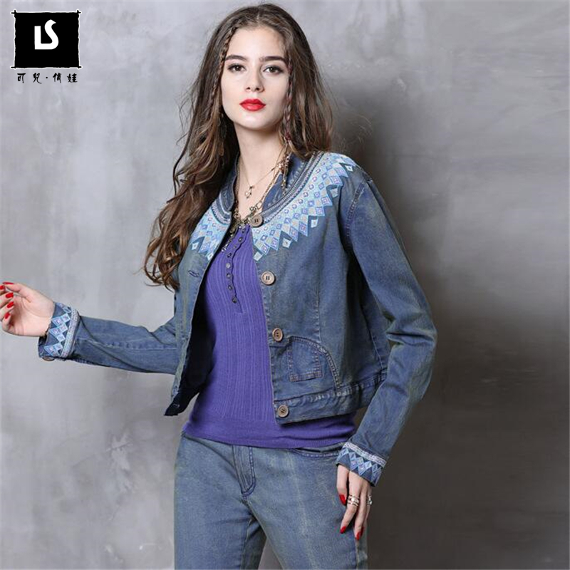 Autumn Winter New Women s Casual Denim National wind embroidery short coat Slim outerwear cotton clothing