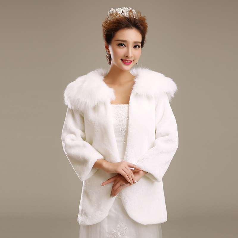 White&red Winter Warm Faux Fur Women Long Coat Turn