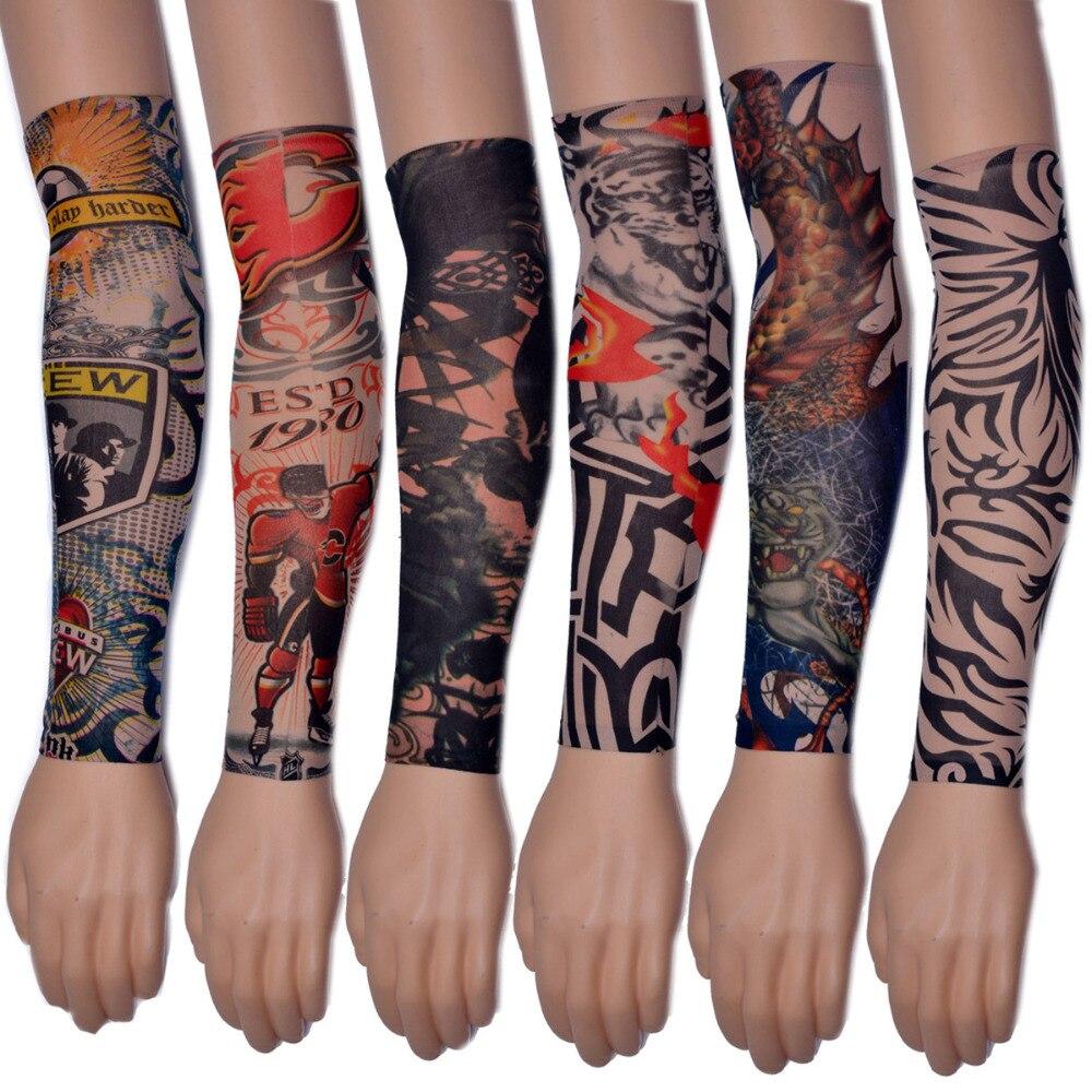 2017 new fashion 3d art designs 10pcs 5 pack nylon elastic for Temporary arm tattoos