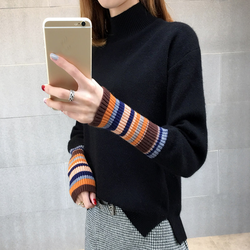 2017 New Winter Sweaters Women cashmere colorful long sleeve half Turtleneck pullovers knitted christmas sweaters pull femme