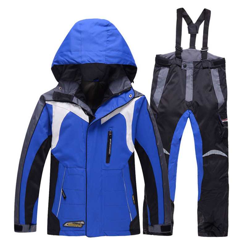 Prix pour Garçon de neige ski veste et pantalon ensemble d'hiver snowboard vêtements thermique coton rembourré enfants habits de neige étanche ski manteaux