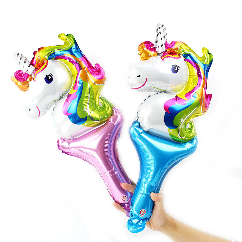 50pcs lot hand held unicorn party balloons for kids birthday globos animal rainbow horse balloon stick cheering ballons toys in Ballons Accessories from Home Garden