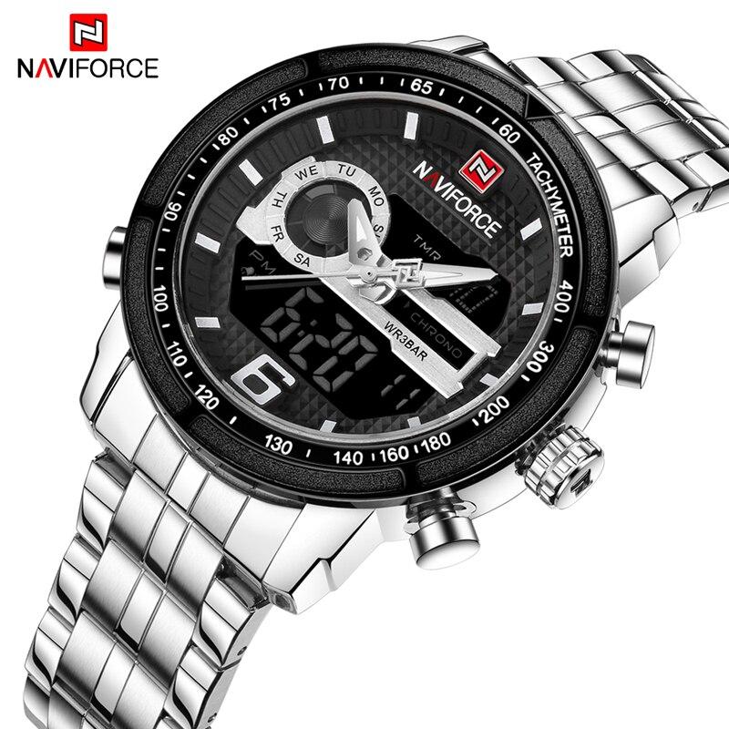 NAVIFORCE Watches Men Luxury Brand Military Steel Wristwatch Luminous Analog Digital Date Week Alarm Display Relogio Masculino стоимость